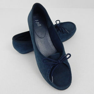 J Jill Flats Style Bistro Blue Leather Suede